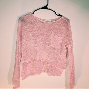 PINK KNITTED CROP TOP